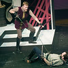 From the left: Tybalt (Frank Huber and Benvolio (Todd Manley) engage in a street fight during rehearsal for Romeo and Juliet on Wednesday night at Missouri Southern. <br /> Globe | Laurie Sisk