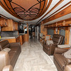 Spacious living room quarters are one of the amenities of the Newmar Londonaire motorhome.<br /> Globe | Laurie Sisk