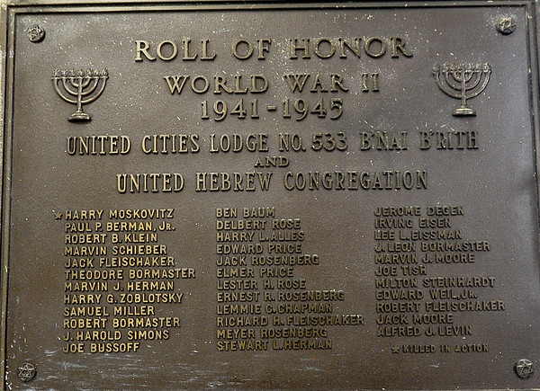 A plaque inside  the United Hebrew Congregation Temple at 702 S. Seargeant St., honors those congregation members who served in WWII.  The temple turned 100 years old this year.<br /> Globe | | Laurie SiskSolomon Hall
