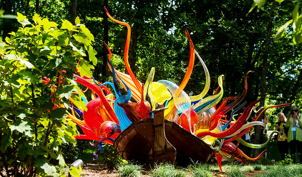 Globe/Roger Nomer<br /> Dale Chihuly's Fiori Boat is included in Crystal Bridges' Chihuly in the Forest exhibit.