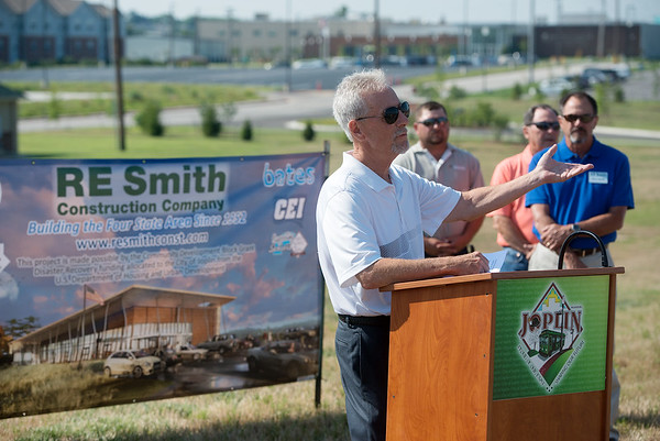 Globe/Roger Nomer<br /> Stan Heater, chief executive officer of the Area Agency on Aging, talks during Thursday's groundbreaking of the new Joplin Senior Center.