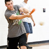 Incoming sophomore Brett Bruenn plays ball during gym class at Sarcoxie High School on Friday. Bruenn said he enrolled in summer school classes to have fun and be close to his football team.<br /> Globe | Laurie Sisk