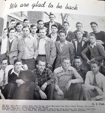 The G.I. Club, those who served as young men in World War II and returned to finish their diplomas at Joplin High School are remembered in the 1947 JHS yearbook, Joplimo.<br /> Globe | Laurie Sisk