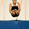 13-year-old Dominic Dumas flies through the air during a tumbling pass on Wednesday at The Flip Shop. Dumas has been involved in gymnastics for about three years.<br /> Globe | Laurie Sisk