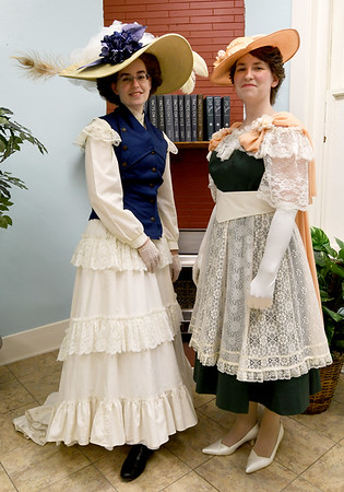 Kay Ellis, left and Emily Ellis pose in 1916 and 1909 attire, respectively.<br /> Globe | Laurie Sisk