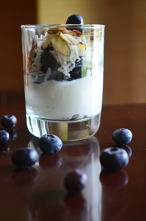 Want a quick super healthy breakfast? Try this Blueberry Almond Parfait.