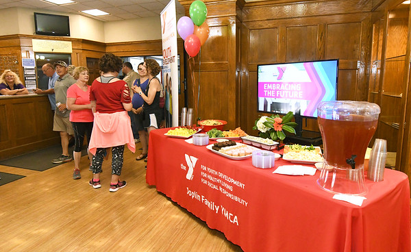 Staff, board members, and patrons of the Downtown YMCA gather on Wednesday afternoon for a reception ahead of the closing of the location.<br /> Globe | Laurie Sisk