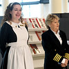 From the left: Titanic Museum Attraction's 1st Class Maid Randi (Randi Shetley) and owner Mary Kellogg greet guests at the opening of the new Joplin Public Library on Saturday. The proprietors also brought artifacta from their museum for display at the library.<br /> Globe | Laurie Sisk