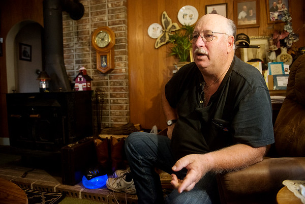 Globe/Roger Nomer<br /> Mike Wilkerson talks about his time in a mental hospital during an interview on Friday at his home in Avila.