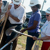 Globe/Roger Nomer<br /> (from left) Stan Heater, chief executive officer of the Area Agency on Aging, Joplin Councilmember Melodee Colbert-Kean and Betty Williams, Joplin, help break ground on the new Joplin Senior Center on Thursday.
