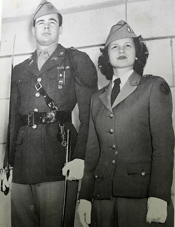 Cadet Colonel Henry Robertson poses with his future wife, Honorary Cadet Colonel Betsy Pate in the 1947 Joplimo yearbook.<br /> Globe | Laurie Sisk