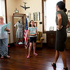"Director Natasha O'Brien-Davis chats with prospective cast members Gayla Baker and Leanna Schlessman, 10, during auditions for ""Snake County Stories"" on Thursday night at the McDonald County Historic Courthouse. Organizers hope the oral history, which has been presented in the past, will become an annual event.<br /> Globe 