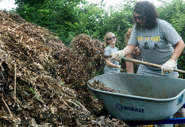 Globe/Roger Nomer<br /> (from left) Samantha Hudson, Ellen Hance and Jennifer Taylor, all with Arvest Bank, work with mulch on Friday at Crosslines as part of the United Way's Day of Caring.