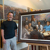 Local artist Andy Thomas has painted a woman in the background of his paintings of U.S. presidents, shown here in his Carthage studio on June 6.<br /> Globe | Roger Nomer
