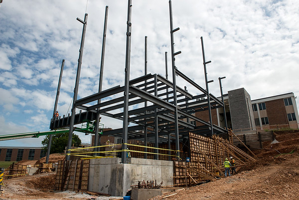 Work continues on Nixon Hall on the campus of Missouri Southern on Monday.<br /> Globe | Roger Nomer