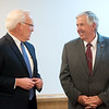 Karl Glassman, President and CEO at Leggett & Platt Inc., left, introduces Missouri Gov. Mike Parson during a visit to Flex-O-Laters in Carthage on Tuesday.<br /> Globe | Roger Nomer