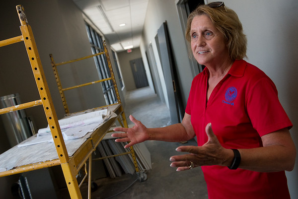 Jacque Long, facility planner, talks about the layout of the new Joplin VA outpatient clinic on Monday.<br /> Globe | Roger Nomer