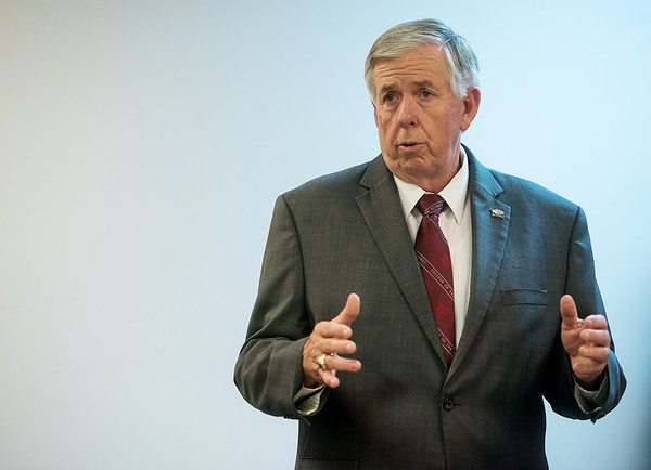 Missouri Gov. Mike Parson gives his remarks during a visit to Flex-O-Laters in Carthage on Tuesday afternoon.<br /> Globe | Roger Nomer
