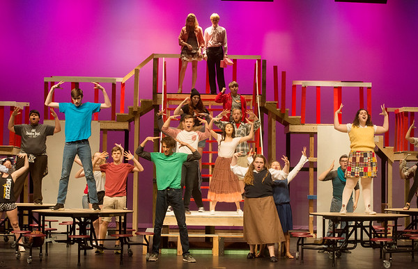 The cast of High School Musical rehearse a scene on Monday at Joplin High School.<br /> Globe | Roger Nomer