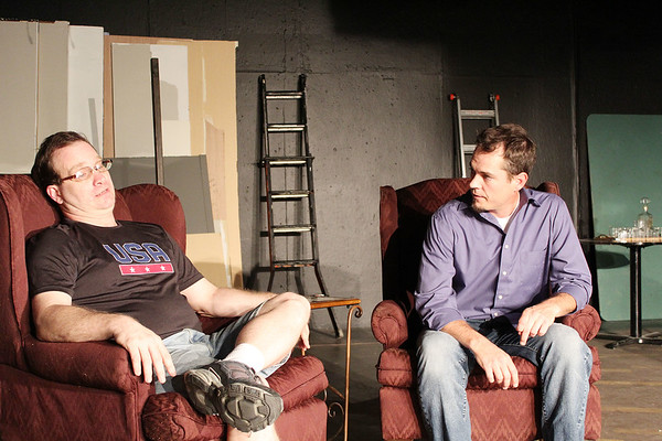"""A scene during rehearsals of """"Rumors"""" at Stone's Throw Theatre in Carthage."""