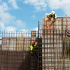 Workers construct concrete walls at Nixon Hall on Monday at Missouri Southern.<br /> Globe | Roger Nomer