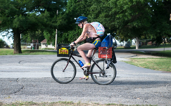 Dave Wulz, Des Moines, Iowa, tackles Missouri's Big BAM Ride barefooted as he sets off from Schifferdecker Park on Monday morning.<br /> Globe   Roger Nomer