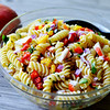 This Crab Meat and Mango Pasta Salad is a light side dish that has lovely flavor from the sweet mango and salty crab.<br /> Globe | Juliana Goodwin
