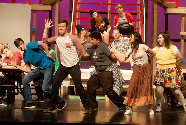 The cast of High School Musical rehearse a scene on Monday at Joplin High School.<br /> Globe   Roger Nomer