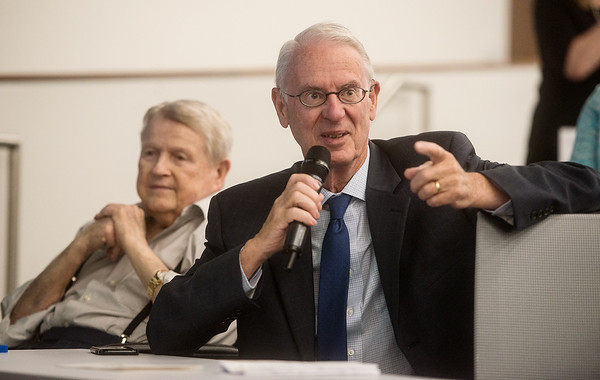 Larry McIntire talks about the new College of Dental Medicine at KCU on Tuesday.<br /> Globe | Roger Nomer