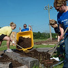 (from left) Brieanna Roberts, with Commerce Bank, Cindy Hughes, Katelyn Patterson and Dana Pim, with Southwest Missouri Bank, volunteer at Wildcat Park during Friday's United Way Day of Action on Friday.<br /> Globe | Roger Nomer