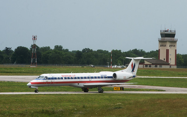 An American Eagle flight from Chicago lands at the Joplin Regional Airport on Thursday.<br /> Globe | Roger Nomer