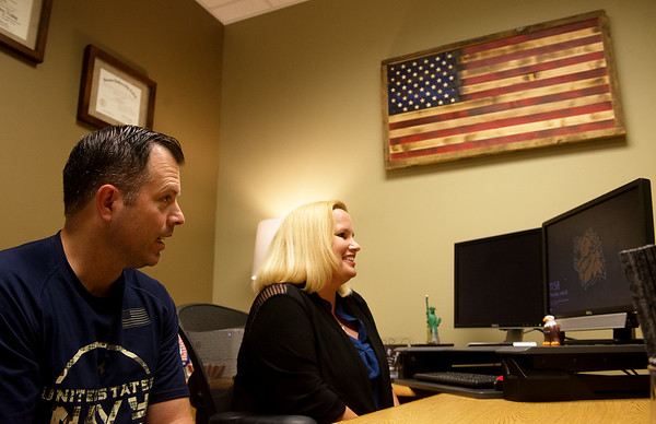 Jamie and Maghan Alberts talk about their experience with the GI Bill during an interview at Missouri Southern on Thursday.<br /> Globe   Roger Nomer