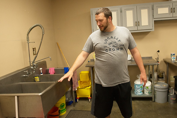 Caleb Stiles, food service director, talks about the kitchen expansion at the YMCA's new facility in Carthage.<br /> Globe   Roger Nomer