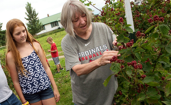 Jessie Cox talks about blackberries with Hailey Barnett, 12, at Ray's Farm to Market in Mt. Vernon on Wednesday.<br /> Globe | Roger Nomer