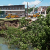 Utility crews work in downtown Anderson on Tuesday.<br /> Globe | Roger Nomer
