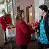 Linda Teeter, Joplin Chamber of Commerce ambassador, welcomes Lauren Oney-Stadler to Joplin after the landing of the American Eagle Chicago flight on Thursday at the Joplin Regional Airport.<br /> Globe | Roger Nomer