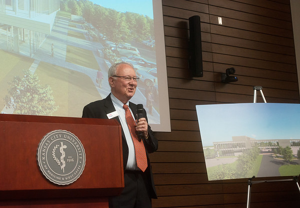 Rudy Farber talks about the new College of Dental Medicine at KCU Joplin on Tuesday.<br /> Globe | Roger Nomer