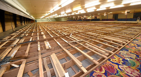 Lanes from the old  old Carl Richards Bowling Alley on Rangeline stand as skeletons on Tuesday. Employerr Advantage is renovating the 30,000 sq. ft. building for office space to use as the company's new headquarters.<br /> Globe | Laurie SIsk