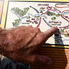 Steve Maddox points out the positioning of troops during the infamous Civil War battle on the Rader Farm.<br /> Globe | Laurie Sisk