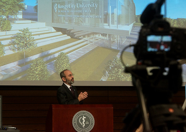 Marc Hahn, president and CEO of KCU, introduces the new College of Dental Medicine during a press conference on Tuesday.<br /> Globe | Roger Nomer