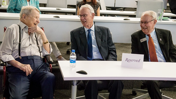(from left) Harry Cornell, Larry McIntire and Rudy Farber chat before Tuesday's announcement of the College of Dental Medicine at KCU.<br /> Globe | Roger Nomer