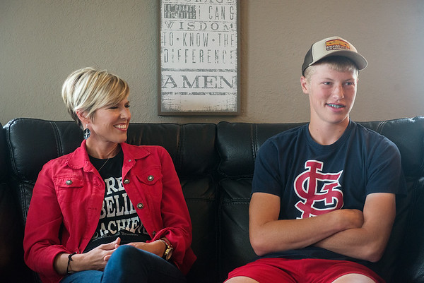 Kara and Dylan Gallup talk about Dylan's experience with heart surgeries during an interview on Monday in Lockwood.<br /> Globe | Roger Nomer