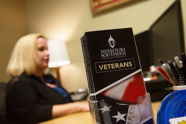 Maghan Alberts, veteran services coordinator with Missouri Southern, talks about her experience with the GI Bill on Thursday at Missouri Southern.<br /> Globe | Roger Nomer