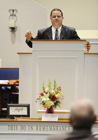 Globe/T. Rob Brown<br /> Brian Wagahoff of Faith Baptist Church gives a sermon during the church's Open House Service Saturday afternoon, March 23, 2013. The church, which was destroyed by the 2011 tornado, is now reopened.