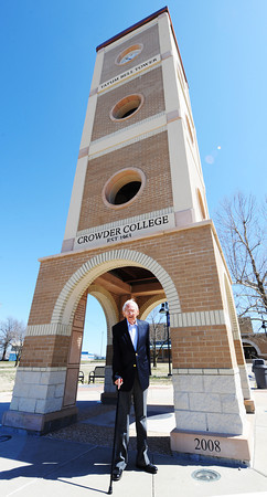Globe/T. Rob Brown<br /> James Tatum, retired longtime Crowder College board president, stands Wednesday afternoon, March 20, 2013, in front of the Tatum Bell Tower named in his honor, in preparation for the college's 50th anniversary.