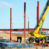Globe/T. Rob Brown<br /> Steel beams continue to go go up for the new Joplin High School Wednesday morning, March 20, 2013.