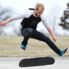 Globe/T. Rob Brown<br /> Damon Johnson, of Joplin, practices his skater skills Friday afternoon, March 8, 2013, while enjoying the pleasant weather at Schifferdecker Park.