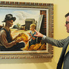 """Globe/Roger Nomer<br /> Kevin Murphy, curator, talks about Thomas Hart Benton's """"Tabacco Sorters"""" at the Crystal Bridges Art Museum."""