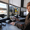 Globe/T. Rob Brown<br /> Michael L. Frerer, commercial vehicle officer supervisor, watches tractor trailers travel through the eastbound commercial vehicle weigh station on Interstate 44.