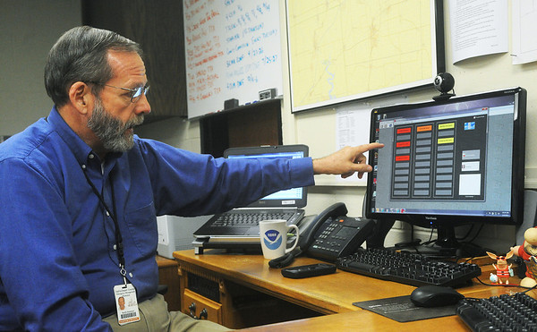 Globe/Roger Nomer<br /> Keith Stammer, director Joplin/Jasper County Emergency Management, talks about the storm siren outdoor warning system during an interview on Monday.